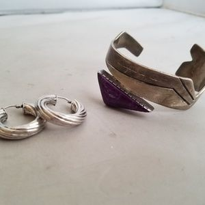 Jewelry - Mike Smith Sterling Cuff Bracelet & Silver Hoops